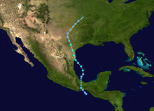 Track of Tropical Depression Eleven-E, later Tropical Storm Hermine, stretching from the Gulf of Tehuantepec northward to the Midwestern United States
