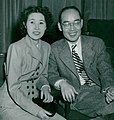 Hideki Yukawa with wife 1949b.jpg