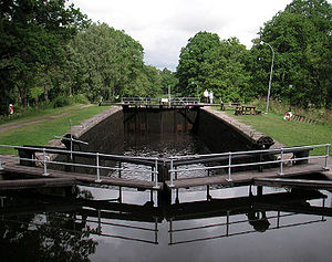 Hjälmare kanal - The locks at Hällby. July 2005