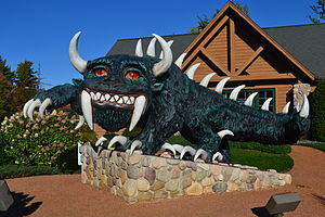 Rhinelander, Wisconsin - A modern statue of the Hodag on display in front of the Rhinelander chamber of commerce.