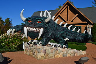 Rhinelander, Wisconsin - A modern statue of the hodag on display in front of the Rhinelander Chamber of Commerce