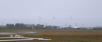 Hooper Bay, Alaska - Hooper Bay with wind turbines in background.