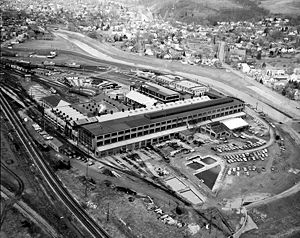 Hornell, New York - Erie Lackawanna shop in Hornell - aerial photo from 1971