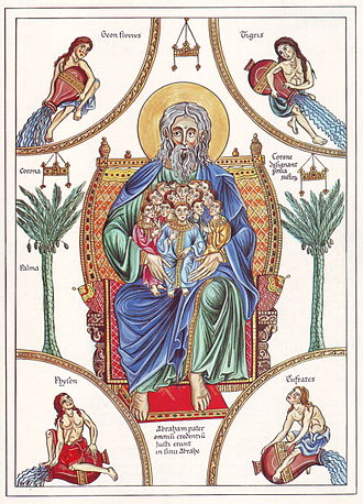 Patriarchs (Bible) - The bosom of Abraham - medieval illustration from the Hortus deliciarum of Herrad of Landsberg (12th century)