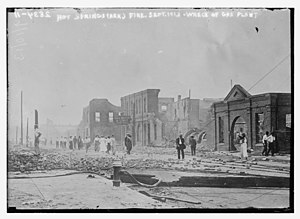 Hot Springs, Arkansas - September 10, 1913 with remnants of the fire
