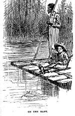 Una zattera tradizionale tratta dalle avventure di Huckleberry Finn edizione 1884