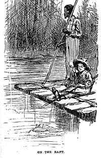 Huckleberry Finn och Jim på sin flotte (illustration, 1884).