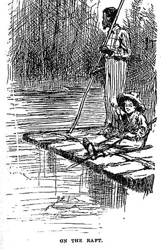 Raft - Traditional raft, from the 1884 edition of Adventures of Huckleberry Finn.