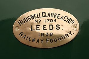 Hudswell Clarke - Hudswell Clarke builder's plate from 0-6-0T Nunlow