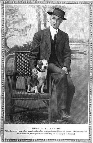 Hugh Fullerton - Hugh Fullerton with dog, 1912
