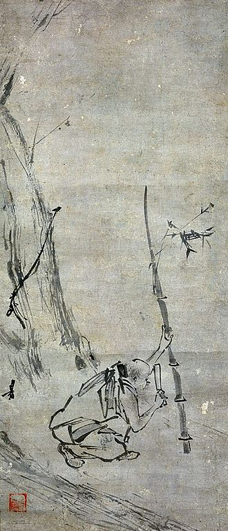 Huineng - Liang Kai, The Sixth Patriarch Cutting the Bamboo, Song Dynasty (960–1279 AD), ink on paper, 72.7 x 31.5 cm, Tokyo National Museum, Japan