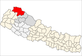 Humla District i Karnali Zone (grå) i Mid-Western Development Region (grå + lysegrå)