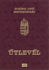 "Front cover of a contemporary Hungarian biometric passport. The word in Hungarian for ""Passport"", ""Útlevél"", literally means ""Road letter"""