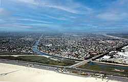 Aerial view o Huntington Beach, Brookhurst Street & Pacific Coast Highway in Apryle 2008.