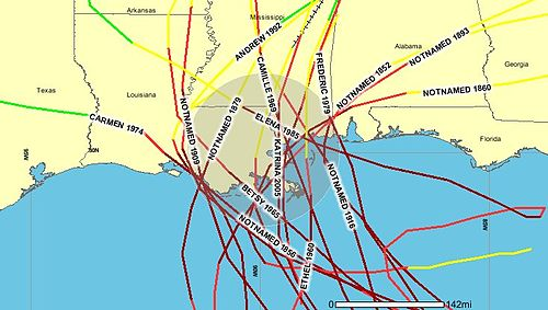 Hurricanes of Category 3 or greater passing within 100 miles 1852-2005 (NOAA) Hurricanes Category 3 or greater within 100 miles of New Orleans.jpg