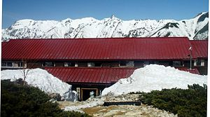 Mount Jōnen - Jōnen Hut and Mount Yari in spring