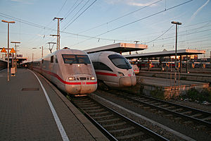Nuremberg Central Station - 3 ICE-Trains on platform 5, 6 and 7