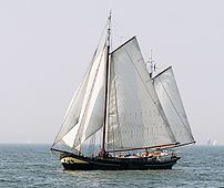 Traditional boat on the IJsselmeer