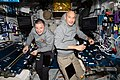 ISS-61 Andrew Morgan and Luca Parmitano set up a work space in the Harmony node.jpg