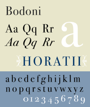 Vox-ATypI classification - Bodoni, a Didone typeface