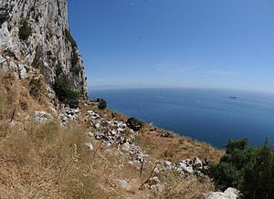 Ibex Cave - View over the Alboran Sea from the entrance to Ibex Cave.
