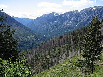 Icicle Creek - Icicle Creek passes between the north ridge of Cashmere Mountain (left) and Icicle Ridge (right) in this view east from Fourth of July Creek