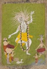 God Shiva in His Ferocious Aspect as Mahakala Dancing
