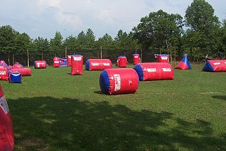 "Paintball - A ""speedball"" field consisting of inflatable paintball bunkers."
