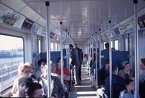 Expo Express - Interior of Expo Express train looking toward rear of car