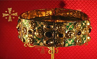 Crown (headgear) -  The Iron Crown of Lombardy, probably the most ancient royal insignia of Europe, used by the Holy Roman Empire and the Kingdom of Italy, kept in the Cathedral of Monza.