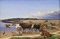 Jørgen V. Sonne - En flok kvæg har søgt kølighed i en sø på en hed sommerdag - KMS509 - Statens Museum for Kunst.jpg