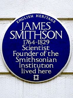 James smithson 1764 1829 scientist founder of the smithsonian institution lived here