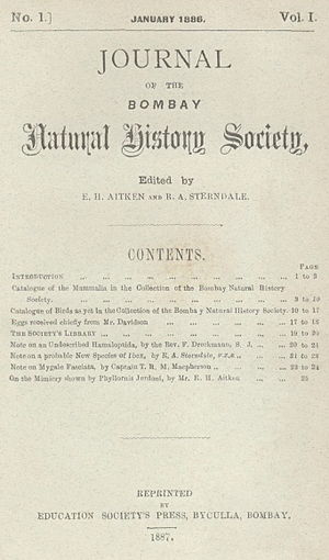 Journal of the Bombay Natural History Society - Image: JBNHS v 1 n 1A