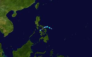 1958 Pacific typhoon season - Image: JMA TS 02 1958 track