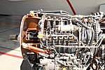 JMSDF US-1A T64-IHI-10E turboprop engine(cutaway model) compressor section left side view at MCAS Iwakuni May 5, 2019.jpg