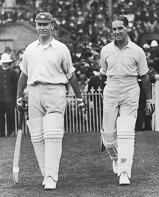 Hobbs (left) and Sutcliffe opening the batting in Melbourne, Australia, during the second Test in February 1925 Jack Hobbs and Herbert Sutcliffe 1925.jpg