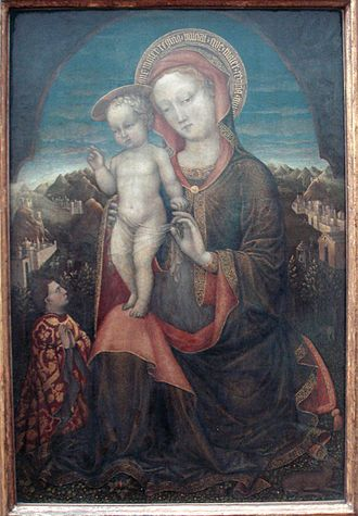 Jacopo Bellini - Virgin of Humility, adored by a prince of the House of Este, 1440. Notice the Pseudo-Kufic mantle hem. Louvre Museum.