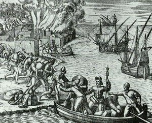 Piracy in the Caribbean - French pirate Jacques de Sores looting and burning Havana in 1555