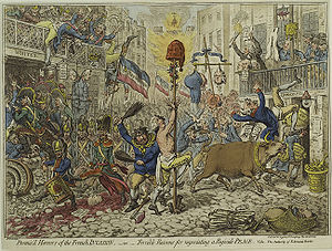 "Invasion literature - Promised Horrors of the French Invasion"" – a cartoon by the British James Gillray published during the French Revolution and depicting a London occupied by the French"