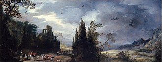 Jan Tilens - Landscape with woodcutters