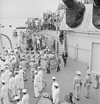 Japanese envoys leave the USS Missouri (BB-63) in Tokyo Bay, Japan, after signing surrender papers. - NARA - 520922 (cropped).jpg