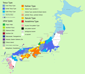 Japanese pitch accent - Pitch-accent systems of Japanese. Blues: Tokyo type. Yellow-orange: Kyoto–Osaka (Keihan) type. Pink: Two-pattern accent. White: No accent. Speckled areas are ambiguous.