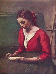 Lesendes Mädchen in rotem Trikot