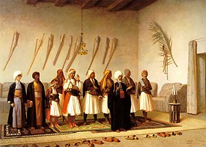 Albanians in Egypt - Prayer in the house of an Arnaut chief, by Jean Leon Jerome - 1857