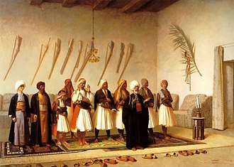 Islamization of Albania - Prayer In The House Of An Arnaut Chief by Jean-Léon Gérôme (1857)