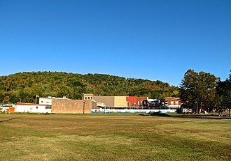Jellico, Tennessee - North Main Street blocks, viewed from the railroad tracks