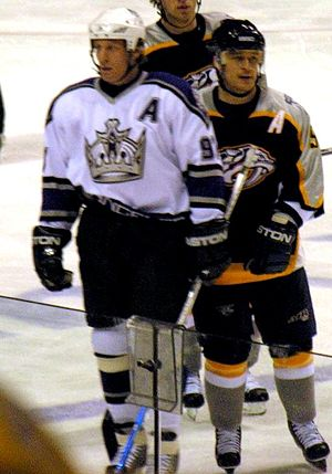 Jeremy Roenick - Roenick with the Kings (left) next to Paul Kariya