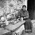 Jerišetovka sedi pred hišo, zraven je mišnica in mačka, Socerb 1949.jpg