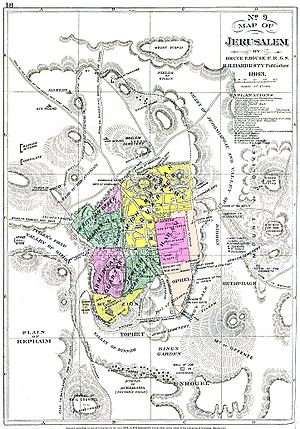 Expansion of Jerusalem in the 19th century - 1883 map of Jerusalem