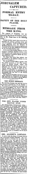Jerusalem Captured, The Times, Tuesday, Dec 11, 1917